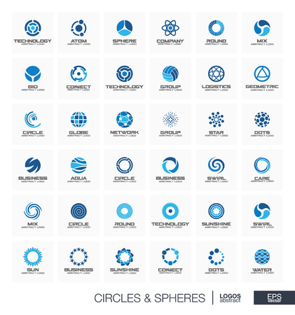 mobil: Abstract geometric logo set for business company. Corporate identity design elements. Orbit, atom, roll wheel, segment connect concept. Radius, Sphere, Circle, Globe logotype collection. Vector icons