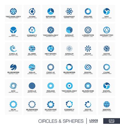 Logotipo geométrico abstracto para empresa. Elementos de diseño de identidad corporativa. Concepto de órbita, átomo, rueda rodante, segmento conectado Colección de logotipos de radio, esfera, círculo y globo. Iconos vectoriales
