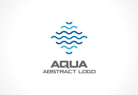Abstract logo for business company. Corporate identity design element. Eco ocean, nature, swimming pool, spa, aqua swirl Logotype idea. Water wave, blue sea square concept. Colorful Vector line icon