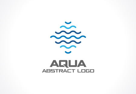 swimming: Abstract logo for business company. Corporate identity design element. Eco ocean, nature, swimming pool, spa, aqua swirl Logotype idea. Water wave, blue sea square concept. Colorful Vector line icon