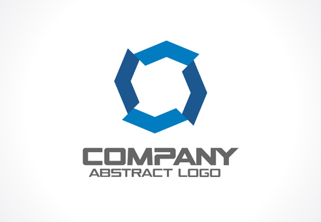 integrate: Abstract business company logo. Corporate identity design element. Industry, finance, bank logotype idea. Hexagon group, network integrate, technology interaction concept. Color Vector connect icon