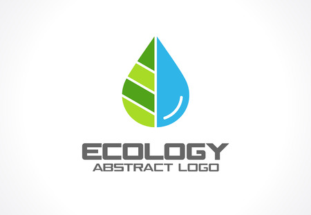 Abstract logo for business company. Corporate identity design element. Eco nature, spa, aqua Logotype idea. Water drop and leaf, environment, natural liquid, save concept. Colorful Vector flat icon