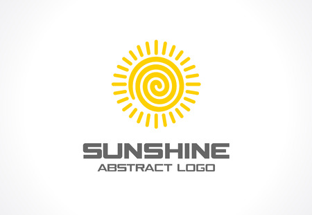 bionics: Abstract for business company. Corporate identity design element. Eco, spiral sun energy, yellow sunlight idea. Environment, natural, nature save concept. Colorful Vector flat icon