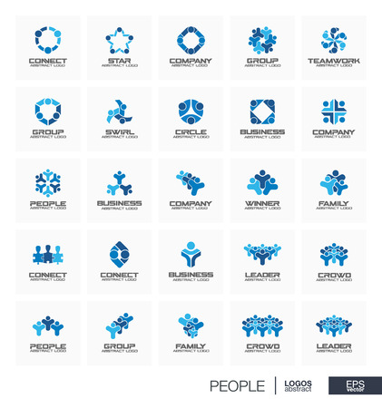 connect people: Abstract set for business company. Corporate identity design elements. People leader, crowd, winner, family connect concept. Teamwork, sport, team, children collection. Vector icons