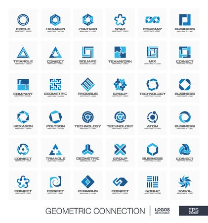 Abstract logo set for business company. Corporate identity design elements. Segment, section connect concept. Circles, polygons, square, hexagon geometric logotype collection. Colorful Vector icons  イラスト・ベクター素材
