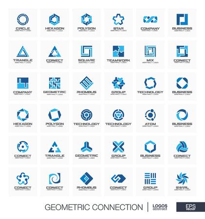Résumé jeu de logo pour la société d'affaires. Identité visuelle des éléments de conception. Segment, section connecter concept. Cercles, polygones, carrée, collection hexagone logotype géométrique. icônes vectorielles Colorful