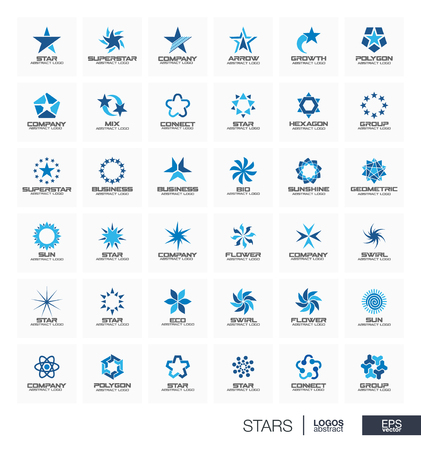 Abstract logo set for business company. Corporate identity design elements. Star segment connect, sun, section, geometric concept. Polygons, superstar logotype collection. Colorful Vector icons Vectores