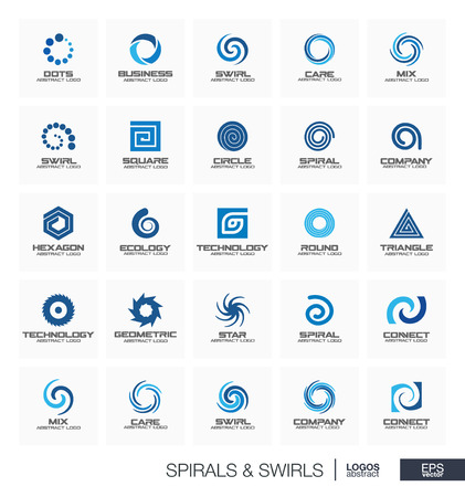 Abstract set for business company. Corporate identity design elements. Wave, circle, spring, rotation, segment connect concept. Spiral, swirl, whirlpool collection. Colorful Vector icons