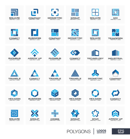 mobil: Abstract logo set for business company. Corporate identity design elements. Segment group connect, triangle concept. Polygon, square, rhombus, cross, hexagon geometric logotype collection. Vector icon Illustration