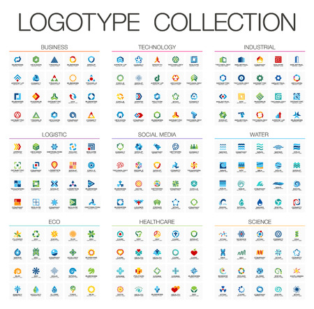 Abstract logo set for business company. Corporate identity design elements. Technology, Eco, Science, Healthcare concepts. Industrial, Logistic, Social Media Logotype collection. Colorful Vector icons
