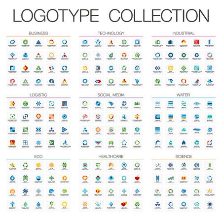 Streszczenie logo zestaw do spółki biznesowej. elementów tożsamości korporacyjnej. Technologia, Eko, Nauka, koncepcja opieki zdrowotnej. Przemysłowej, logistycznej, kolekcja Social Media Logotyp. Kolorowe wektorowe ikony