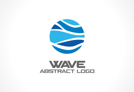 ocean wave: Abstract for business company. Corporate identity design element. Nature, ocean, eco, science, healthcare idea. Ecology, blue, sea, water wave in circle concept. Colorful Vector icon Illustration