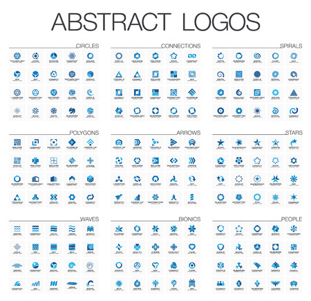 Abstract set for business company. Corporate identity design elements. Star, arrow, water wave, people connect concept. Circle, polygon, square, spiral
