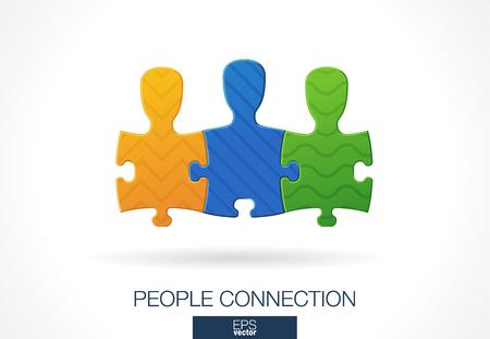 segmento: Resumen de la empresa. identidad corporativa elemento de diseño. Medios de Comunicación Social, la idea de la red. La gente conecta en forma de rompecabezas, trabajo en equipo, asociación, concepto de equipo. icono de vectores de colores Vectores