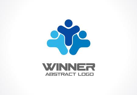 saludable logo: Resumen de la empresa. identidad corporativa elemento de diseño. Líder, cabeza, deporte de la idea de competencia Winer. Las personas del grupo, red, el concepto de medios de comunicación social. icono de vectores de colores