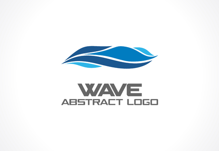 blue lines: Abstract logo for business company. Corporate identity design element. Eco ocean, nature, swimming pool, spa, aqua swirl Logotype idea. Water wave, blue sea square concept. Colorful Vector line icon