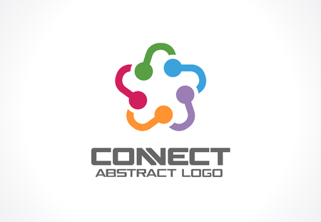 Abstract business company. Corporate identity design element. Social media, internet, people connect idea. Star group, network integrate, technology interaction concept. Vector icon Illustration