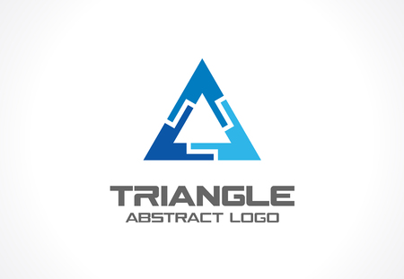 industry design: Abstract business company. Corporate identity design element. Industry, finance, bank idea. Triangle group, network integrate, technology interaction concept. Color Vector connect icon