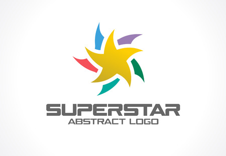 superstar: Abstract business company. Corporate identity design element. Social Media, award, talent idea. Gold superstar, colorful star segments group around, yellow polygon concept. Vector icon