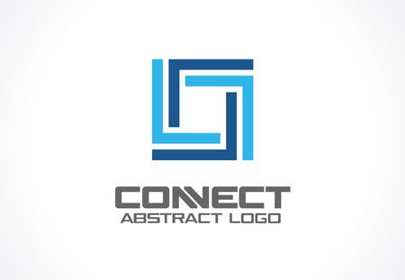 conjunction: Abstract logo for business company. Corporate identity design element. Industry, finance, bank logotype idea. Square group, network integrate, technology interaction concept. Color Vector connect icon