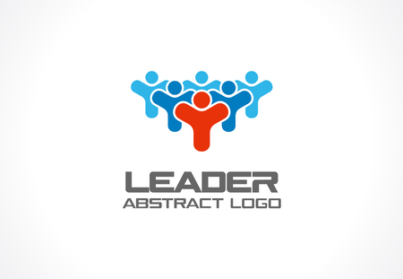 corporate people: Abstract for business company. Corporate identity design element. Leader, head, subscribers, followers and fan idea. People group, Network, Social Media concept. Colorful Vector icon