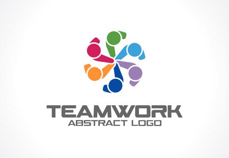 circulo de personas: Resumen de la empresa. identidad corporativa elemento de diseño. Tecnología, Medios de Comunicación Social idea. La gente se conecta, compuesto de segmentos en forma de círculo, concepto geométrico. icono de vectores de colores