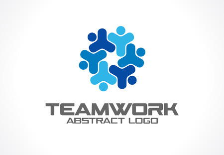 Abstract for business company. Corporate identity design element. Teamwork, Social Media idea. People connect, segments compound in cogwheel, partnership concept. Colorful Vector icon