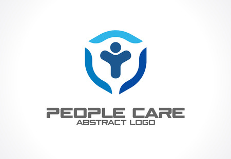 security company: Abstract for business company. Corporate identity design element. Health care, Insurance or security idea. People safe, protect, shield, guard protection concept. Colorful Vector icon