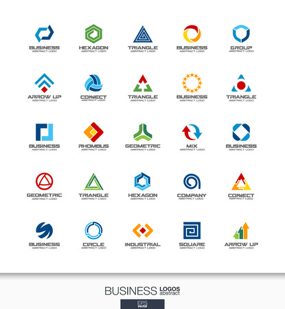 Abstract logo set for business company. Corporate identity design elements. Technology, banking, finance concepts. Industrial, development, marketing logotype collection. Colorful Vector icons Çizim