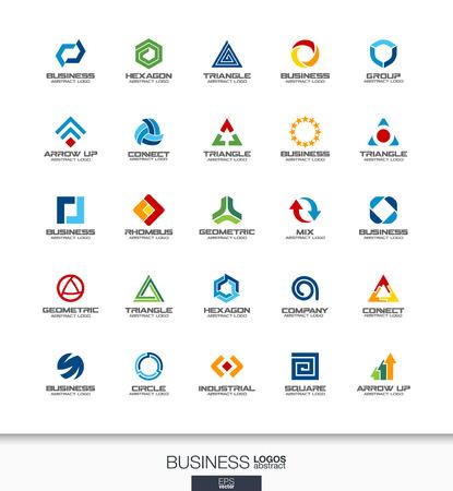 Résumé jeu de logo pour la société d'affaires. Identité visuelle des éléments de conception. Technologie, de la banque, les concepts de la finance. , Le développement, la collecte de logotype marketing industriel. icônes vectorielles Colorful Banque d'images - 60944929