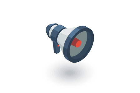 megaphone, speaker, broadcast, share isometric flat icon. 3d vector colorful illustration. Pictogram isolated on white background Illustration