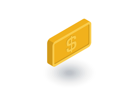 gold bar isometric flat icon. 3d vector colorful illustration. Pictogram isolated on white background