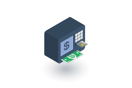 ATM, banking, dollar cash, card money, finance isometric flat icon. 3d vector colorful illustration. Pictogram isolated on white background