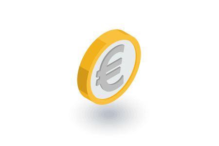 currencies: euro coin, currency isometric flat icon. 3d vector colorful illustration. Pictogram isolated on white background