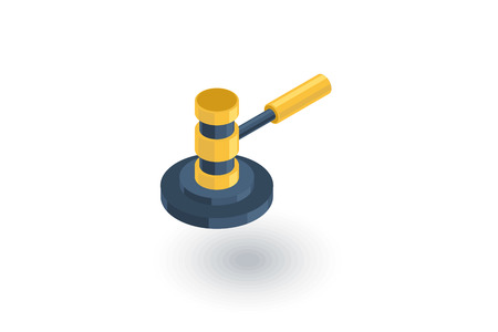 concrete court: auction hammer, law and justice symbol, verdict isometric flat icon. 3d vector colorful illustration. Pictogram isolated on white background Illustration