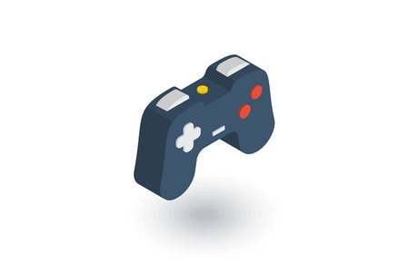 handheld device: joystick, gaming isometric flat icon. 3d vector colorful illustration. Pictogram isolated on white background