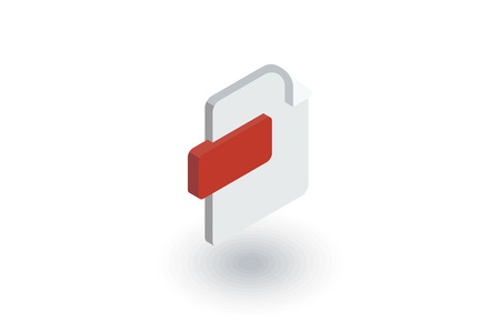 file format, document isometric flat icon. 3d vector colorful illustration. Pictogram isolated on white background
