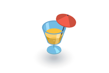 soda: cocktail glass umbrella, juice drink, isometric flat icon. 3d vector colorful illustration. Pictogram isolated on white background
