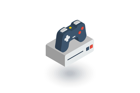 gamepad: Console and joystick, gaming isometric flat icon. 3d vector colorful illustration. Pictogram isolated on white background