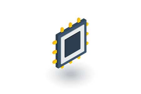 gpu: processor, motherboard, chip isometric flat icon. 3d vector colorful illustration. Pictogram isolated on white background