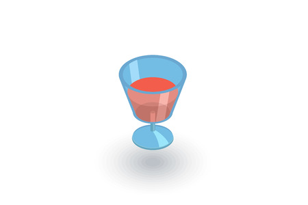 wine or cocktail glass icon isometric flat icon. 3d vector colorful illustration. Pictogram isolated on white background