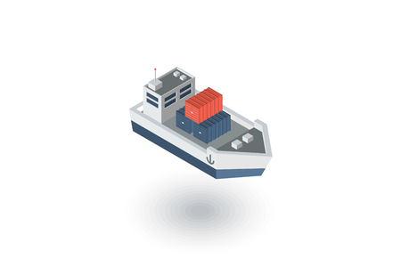 container cargo ship isometric flat icon. 3d vector colorful illustration. Pictogram isolated on white background