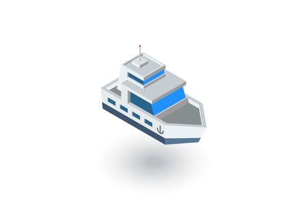 Yacht boat isometric flat icon. 3d vector colorful illustration. Pictogram isolated on white background 일러스트