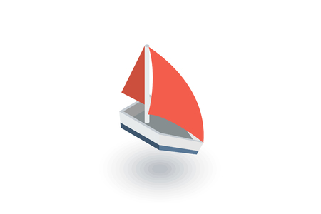 sailing ship isometric flat icon. 3d vector colorful illustration. Pictogram isolated on white background