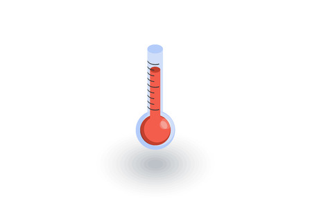 coldness: Thermometer, weather isometric flat icon. 3d vector colorful illustration.