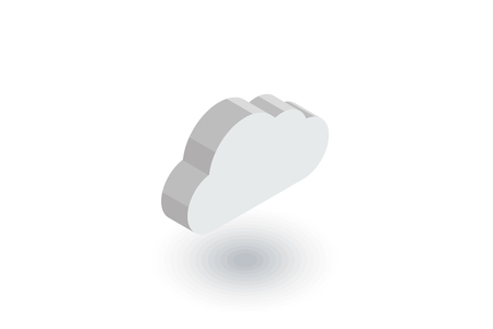 rainstorm: cloud, weather isometric flat icon. 3d vector colorful illustration. Pictogram isolated on white background