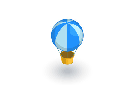 Air balloon isometric flat icon. 3d vector colorful illustration. Pictogram isolated on white background Illustration