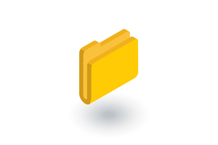 Yellow file folder isometric flat icon. 3d vector colorful illustration.