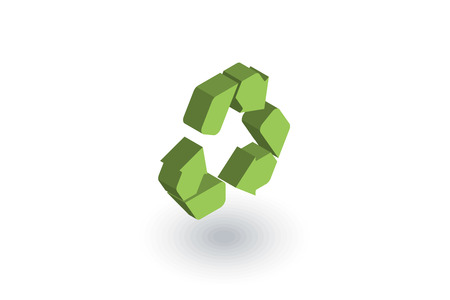 Recycle green symbol. Environmental protection isometric flat icon.