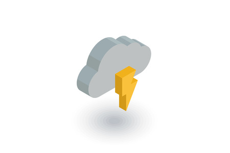 Lightning, thunderstorm cloud, weather isometric flat icon. 3d vector colorful illustration. Pictogram isolated on white background Illustration